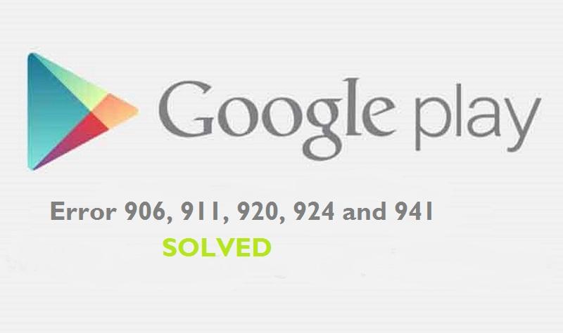 Error 906, 911, 920, 924 and 941
