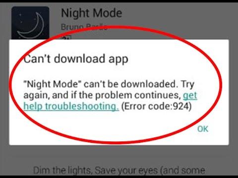 Error 924 on Google Play