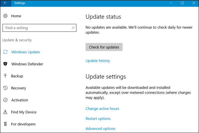 windows 10 update settings