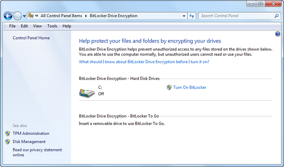 Activate BitLocker