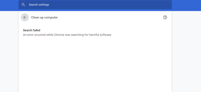 search failed an error occurred while chrome was searching for harmful software